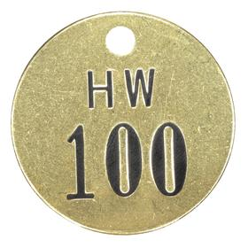 Valve Tag: Hot Water, 076 to 100 # Sequence, 1 1/2 in Overall Dia, 1/16 in Thickness, 3/16 in Hole Dia, Gold, 25 PK