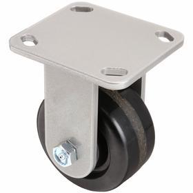 Plate Caster: Black Tread, Phenolic Tread, Roller, 1 Wheels, 6 in Wheel Dia, 3 in Wheel Wd, 2000 lb Max Load Capacity, A