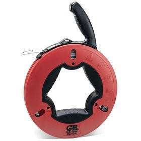 Fish Tape for Straight Runs: Steel, Flat, 125 ft Overall Lg, 1/8 in Tape Wd, 1/16 in Tape Thickness, Red