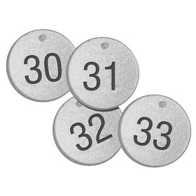 Valve Tag: Round, 151 to 175 # Sequence, 1 1/2 in Overall Dia, 3/16 in Thickness, 3/16 in Hole Dia, Silver, 25 PK