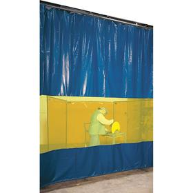 Weld-Protection Curtain Wall: 8 ft Overall Ht, Vinyl, Roller Guide, 10 ft Overall Wd, Blue, Yellow