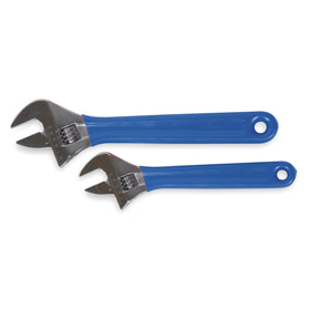 Adjustable Wrench Set: 1/2 in_3/4 in Max Jaw Capacity, Cushion Grip, 2 Pieces, 4 in/6 in Overall Lg