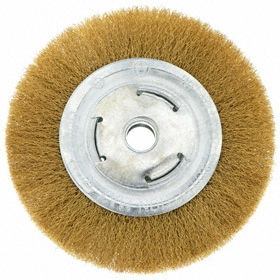 Light Cleaning Wheel Brush: Crimped, Plain Arbor, Brass, 6 in Brush Dia, 2 in Center Hole Dia, 0.02 in Bristle Dia