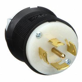 Hubbell Non-NEMA Turn-Locking Plug General Use: 5 Contacts, 10 A Current, 600V AC, Three Phase, Nylon, Black