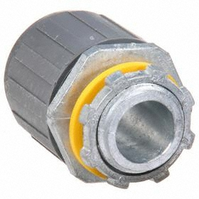 Liquid-Tight Straight Connector: 1/2 in Trade Size, Non-Insulated, Push-On, 2.38 in Overall Lg, Zinc, Gray