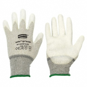 Static Control Glove: Nylon/Copper, L Size, 1 X 10^4 ohms, Polyurethane, Textured, Gray/White, 1 PR