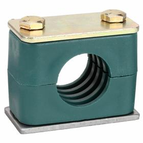 Block-Style Clamp: Block-Style Clamp, Single, Weld Plate, Steel, Polypropylene, 1 1/4 in For Tube/Hose Size