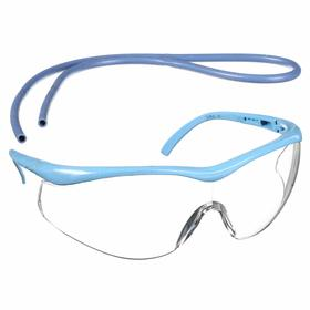 "Rubber Fab Safety Glasses: Clear, Half Frame, Uncoated, Blue, Plastic, Adj Temples, 4.5"" Arm Lg, Hand Wash"