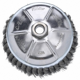 """Heavy Duty Cleaning Cup Brush: For Angle Grinders, Steel, 1 Rows, 2 3/4 in Brush Dia, 5/8""""-11 Center Hole Thread Size, 1 in Bristle Lg"""