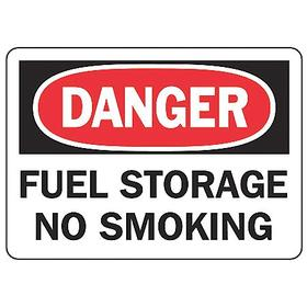 Accuform No Smoking Sign: 7 in Overall Ht, 10 in Overall Wd, Vinyl, Self-Adhesive, Danger, Fuel Storage No Smoking, Text
