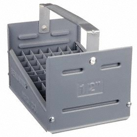 Nipple Caddy: Polyethylene, For 1/2 Nipple Size, 77 Compartments, 13 1/2 in Overall Lg, 8 1/8 in Overall Wd