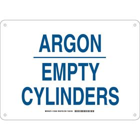 Brady Gas Cylinder Sign: 10 in Overall Ht, 14 in Overall Wd, Aluminum, Mounting Holes, Argon Empty Cylinders, Text