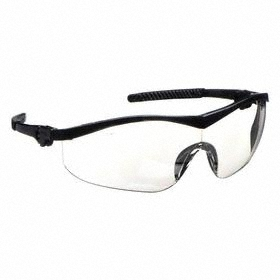 Safety Glasses: Clear Mirror, Half Frame, Anti-Fog/Scratch Resistant, Black, ANSI Z87.1-2010, Nylon, Adj Temples