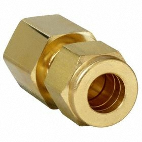 Parker Hannifin Brass Instrumentation Tube Connector: Female, 5/8 in Port 1 Tube Size, 1/2 Pipe Size (Port 2), NPT