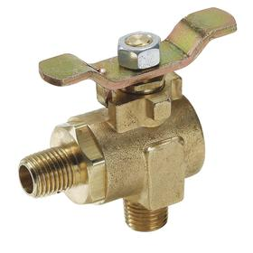 Ball Valve: 2-Piece, Full Port Classification, Brass, Steel, NPT, 1/2 in Pipe Size (Port 1), Male, 2 1/2 in Overall Lg