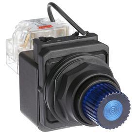 Pilot Light: 120V AC, 2.18 in Overall Lg, Full Volt, Blue, Operator Interface, 50000 hr Avg Life, Plastic, Black, White, Pressure Plate