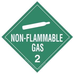 DOT Vehicle Placard: Non-Flammable Gas 2, 10 3/4 in Overall Ht, 14 1/3 in Overall Wd, Vinyl, Green, 2 Dangerous Goods Class