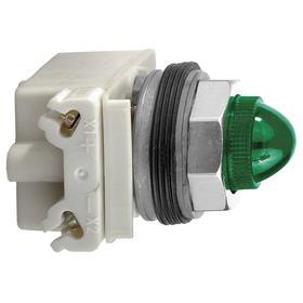 Schneider Electric Pilot Light Complete Unit: 120V AC/120V DC, 1.65 in Overall Lg, Full Volt, Green, For 120 V AC, Metal