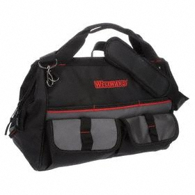Wide-Mouthed Tool Bag: 11 in Overall Ht, 16 in Overall Lg, 21 Total # of Pockets, 8 in Overall Wd, Zipper, Polyester