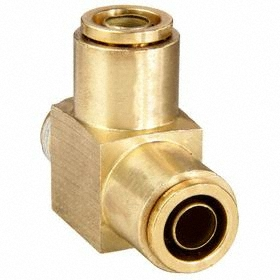 Air Brake Push-to-Connect Run Tee: Brass Body, 1/4 in Port 1 Tube Size, 1/4 in Port 2 Tube Size, 1/8 Pipe Size (Port 3)