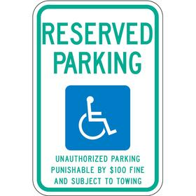 Lyle Accessible Parking Sign: 18 in Overall Ht, 12 in Overall Wd, Aluminum, High Intensity, Blue/White, Text & Graphic