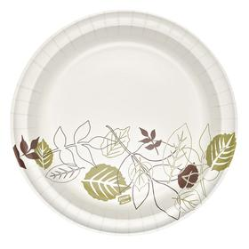 Disposable Plate: White/Brown/Green, Round, 10 1/8 in Dia, Heavy Wt Class, 500 PK