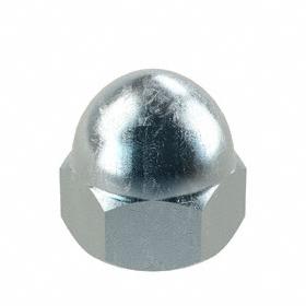 Low Crown Acorn Nut: Steel, Zinc Plated, Low Crown , 10-24 Thread Size, 3/16 in Thread Dp, 3/8 in Wd, 10 PK