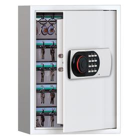 Key Cabinet: 100 Key Capacity, Galvanized Steel, Ivory, 21 7/8 in Overall Ht, 16 15/16 in Overall Wd