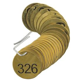 Brady Valve Tag: Round, 326 to 350 # Sequence, 1 1/2 in Overall Dia, 1/16 in Thickness, 3/16 in Hole Dia, Gold, 25 PK