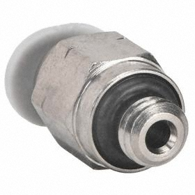 Miniature Push-to-Connect Tube Connector: External, 5/32 in Port 1 Tube Size, 1/8 Pipe Size (Port 2), NPT, Male, 10 PK