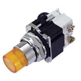 Eaton Pilot Light: 24V AC/DC, 2.03 in Overall Lg, Full Volt, Yellow, For 24 V DC/24 V AC, Includes Bulb, Black, Chrome