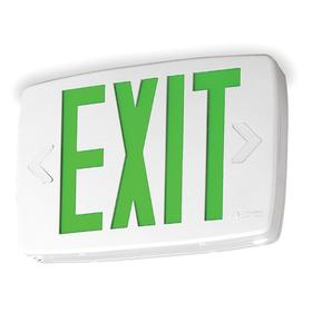 Acuity Lithonia Lighted Exit Sign: 1/2 Faces, Directional Indicators, Green, 7 5/8 in Overall Ht, 11 3/4 in Overall Lg, 2 in Overall Dp
