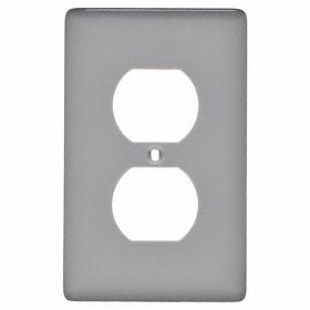 Hubbell Wiring Device-Kellems Duplex Outlet Wall Plate: 1 Gangs, Std Plate Size, 1 Gang, Gray, Nylon, Smooth, Rectangle