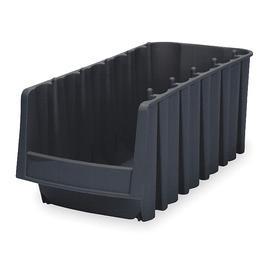 Akro-Mils Stacking Bin: Plastic, 7 in Ht, 8 3/8 in Wd, 17 7/8 in Dp, Nestable, 24 lb Max Load Capacity, Black