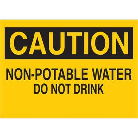 Food & Water Sanitation Sign: 7 in Overall Ht, 10 in Overall Wd, Vinyl, Self-Adhesive, Notice, English, Text, Yellow