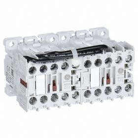 GE Miniature IEC Contactor: 3 Poles, Single/Three Phase, 6 A Current Rating, 120V AC Control Volt, Reversing, Miniature Body