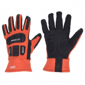 Ansell ActivArmr Flame-Resistant Glove: Mechanics Glove, 2XL Size, High Visibility, Safety Cuff, 12 in Glove Length, 1 PR