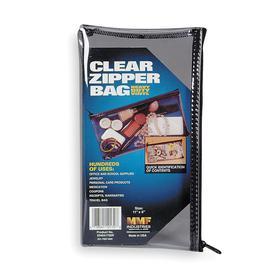 Cash Bag: Zipper, 6 in Ht, 11 in Wd, Vinyl, Clear, 0.23 lb Wt, Zipper Cash Bag, 1/2 in Dp, 0 Compartments, Reusable