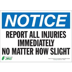 Zing Emergency Contact Sign: 10 in Overall Ht, 14 in Overall Wd, Polyester, Self-Adhesive, English, Safety Information
