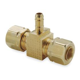 Parker Hannifin Brass Hose Barb: Tee, Male, Barbed, For 1/4 in Tube OD, 1/4 in For Tube OD 2, 150 psi Max Op Pressure