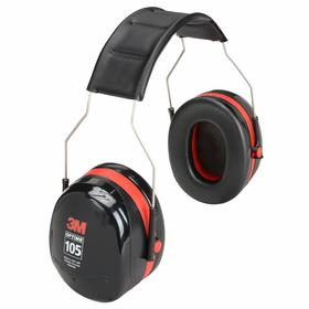 3M Over the Head Earmuffs: 30 dB Noise Reduction Rating, Red/Black, ABS, Foam/Liquid, Stainless Steel