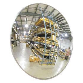 Convex Mirror: Hardboard, 18 in Dia, 18 ft Viewing Distance, Aluminum, Indoor, Fixed
