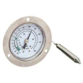 Dial Thermometer: Mounting Holes, -20.0° F Min Op Temp, 120.0° F Max Op Temp, Center Back, 48.00 in Tube Lg