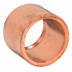 Wrot Copper Flush Bushing: FTG, Sweat, 1/2 Pipe Size (Port 1), 3/8 Pipe Size (Port 2)