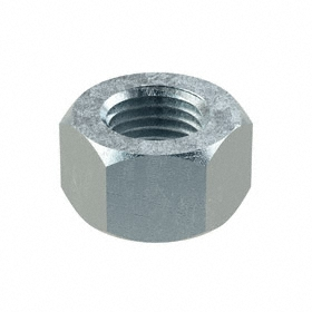 "Hex Nut: Steel, Zinc Plated, Grade 2 Material Grade, 3/8""-24 Thread Size, 9/16 in Wd, 11/32 in Ht, 100 PK"