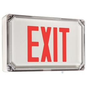 Hubbell Wet Location Lighted Exit Sign: Aluminum, 1 Faces, Red, Batteries Required, Batteries Incl, Universal, 3 1/2 in Overall Dp