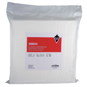 Clean Room Wipe: Std, ISO 14644-1 Class 7 (Fed Spec 209E Class 10,000) Clean Room Class, Dry, 12 in Sheet Lg, White, Bag