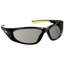 DeWalt Safety Glasses: Gray, Wraparound Frame, Scratch Resistant, Black, ANSI Z87.1, Nylon, Unisex, Polycarbonate