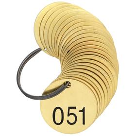 Brady Valve Tag: Round, 051 to 075 # Sequence, 1 1/2 in Overall Dia, 1/16 in Thickness, 3/16 in Hole Dia, Gold, 25 PK