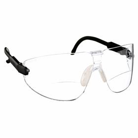3M Bifocal Safety Reading Glasses: Frameless Frame, Clear, 2.50 Diopter Magnification/Diopter, Black